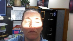 Me soaking in the morning sun at work.