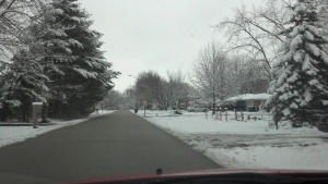 Driving through the old neighborhood to my house.