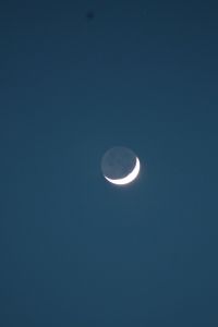 Sunday night's crescent moon putting on a great show in place of the aurora borealis.