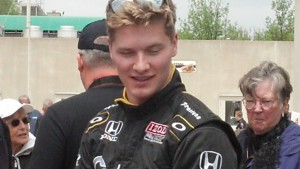 Sarah Fisher's driver Joseph Neugarden