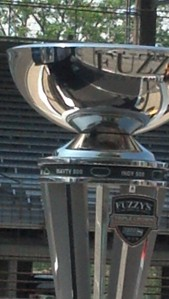 Indy Car and Fuzzy's (Zoeller) have teamed up to bring back the triple crown trophy to this year's series...nice looking trophy!