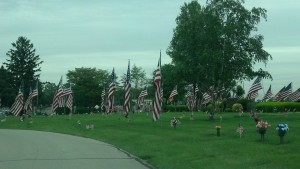 Memorial Park Cemetery in Anderson, IN always lines the roads in the grounds with full size American flags on Memorial Day weekend. It is a breath taking sight every year.