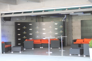Super Bowl furniture is reused at the VIP suite at Victory Lane in Indianapolis.