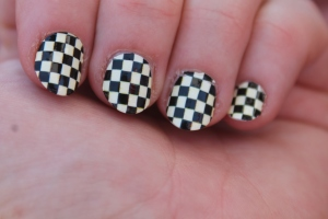 My Sally Hanson nail polish decals are awesome! I got so many compliments on them, including from car owner Sarah Fisher!