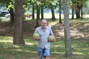 John and yummy watermelon.