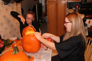 Amber and Jessica hard at creating the best carvings yet.