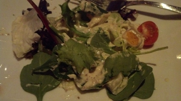 the mustard horseradish dressing was good, but the greens were wilty and the tomatoes a bit dried out.