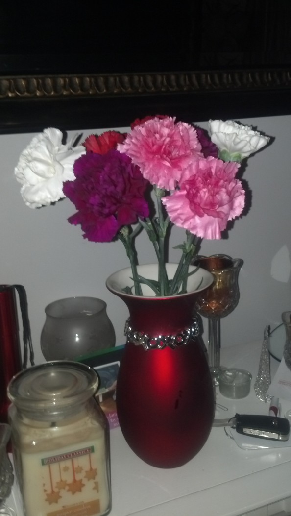 I was not expecting flowers, but I got these Spring colored Carnations!