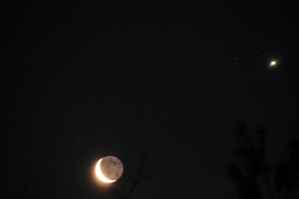 Moon and Venus in the morning sky 2-26-2014