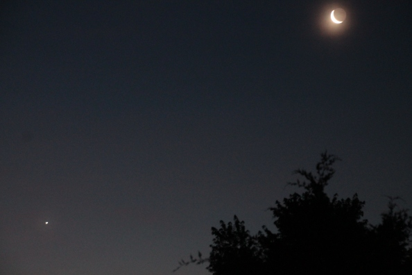 Venus playing tag with the moon this morning.