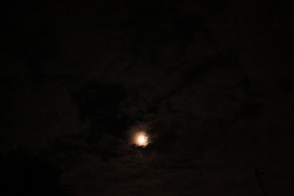 August 2014 Super Moon in the clouds