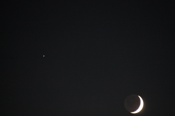 Sept. 27 Moon and Saturn dancing together. What a glorious end to a perfectly beautiful fall Indiana day.